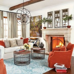 Relaxing Living Room Design Ideas With Orange Color Themes 04