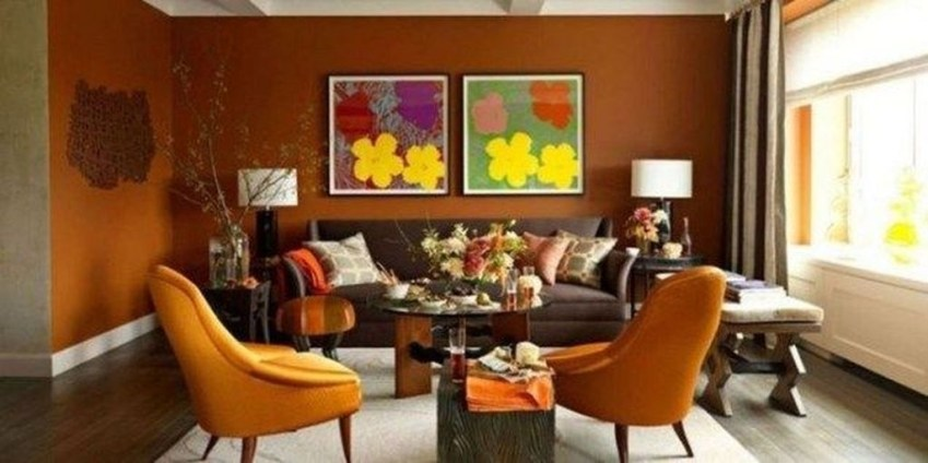 Relaxing Living Room Design Ideas With Orange Color Themes 14