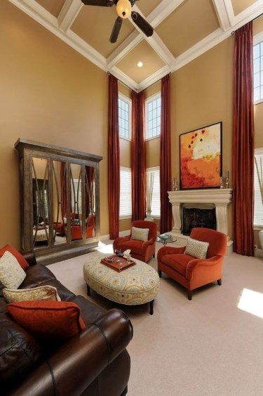 Relaxing Living Room Design Ideas With Orange Color Themes 20