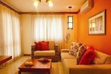 Relaxing Living Room Design Ideas With Orange Color Themes 31