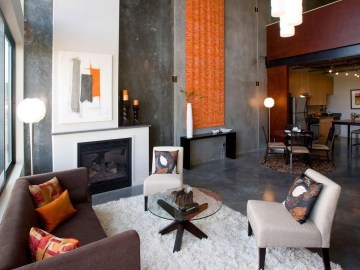 Relaxing Living Room Design Ideas With Orange Color Themes 32