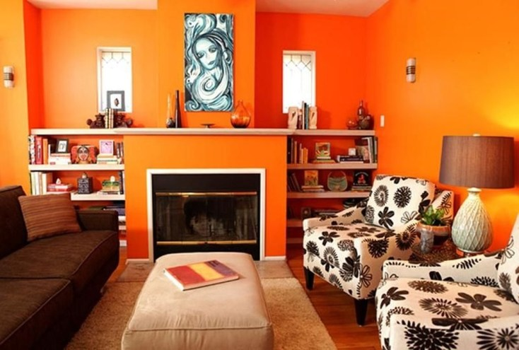 Relaxing Living Room Design Ideas With Orange Color Themes 33