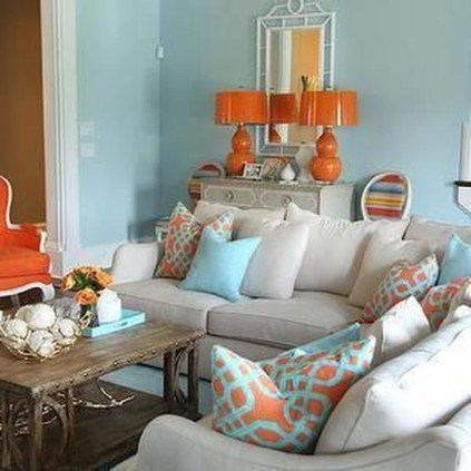 Relaxing Living Room Design Ideas With Orange Color Themes 36