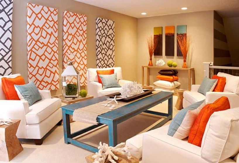 Relaxing Living Room Design Ideas With Orange Color Themes 41