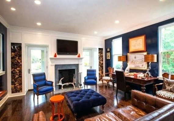 Relaxing Living Room Design Ideas With Orange Color Themes 45