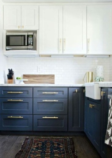 Fancy Painted Kitchen Cabinets Design Ideas With Two Tone 23