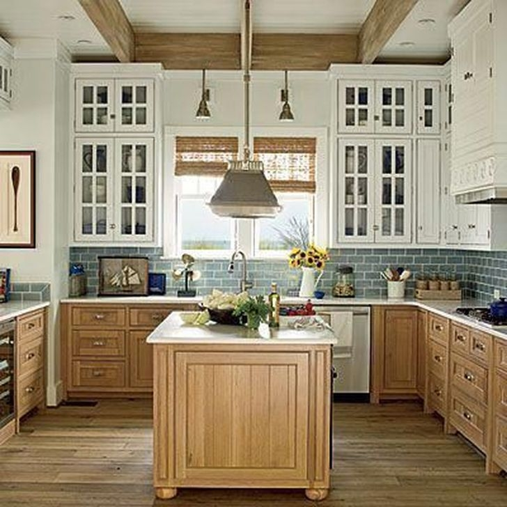 Fancy Painted Kitchen Cabinets Design Ideas With Two Tone 38