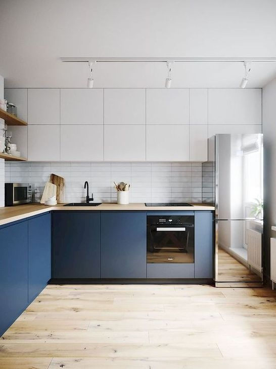 Fancy Painted Kitchen Cabinets Design Ideas With Two Tone 41