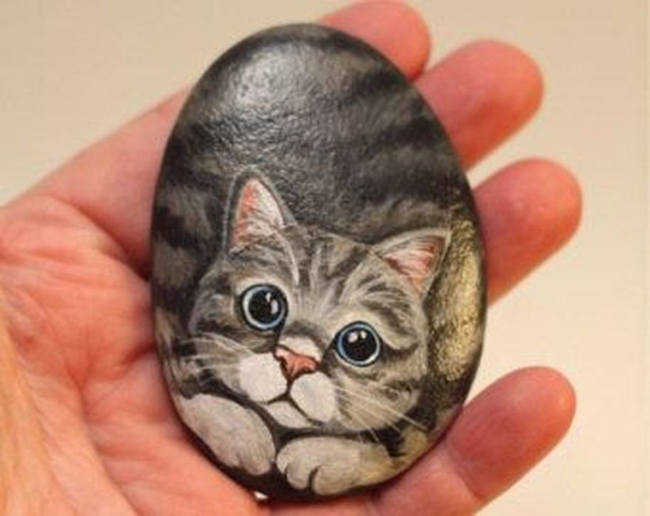 Glamour Diy Painted Rocks Animals Cats Ideas For Summer 43