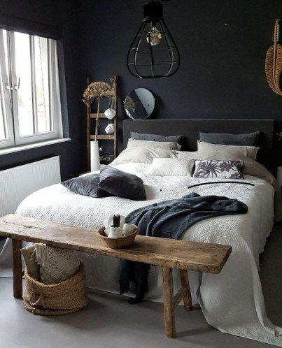Delightful Bedroom Designs Ideas With Dark Wall That Breaks The Monotony 45