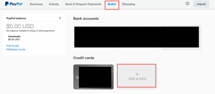 add paypal card