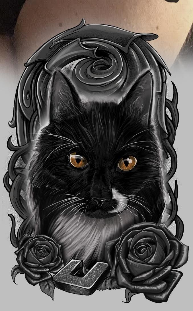 реалистичный дизайн татуировки с реалистичным дизайном татуировки с портретом кошки