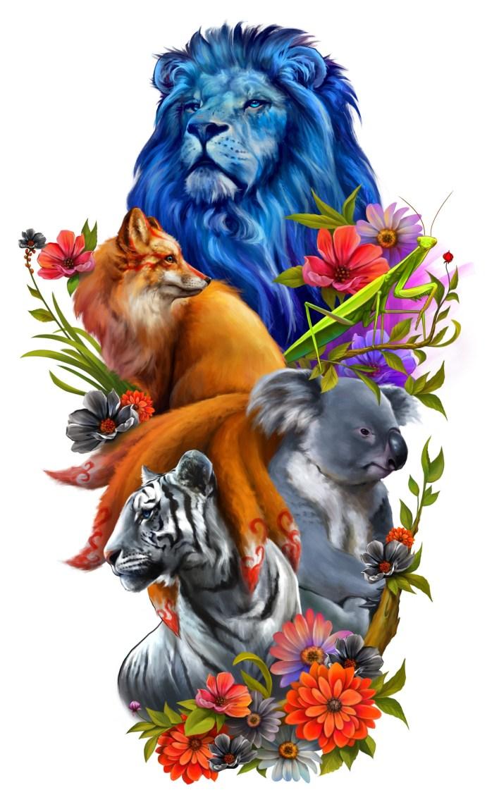 реалистичный дизайн татуировки с животными