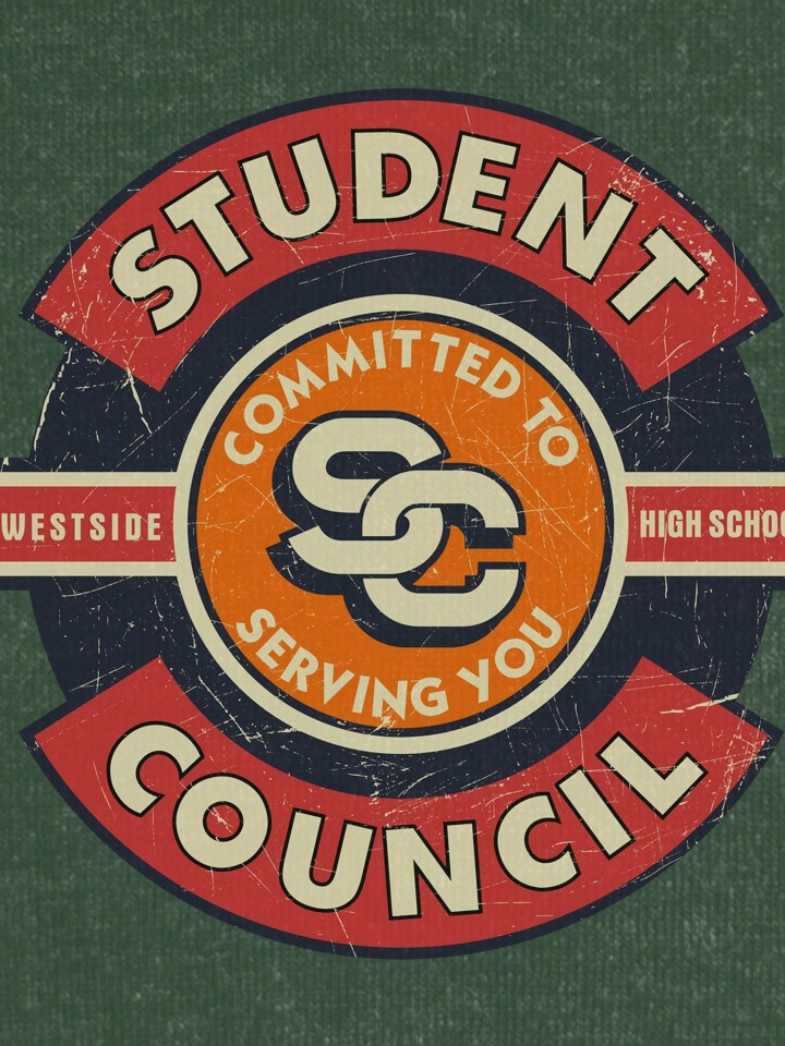 Vintage badge style t-shirt design for a student council