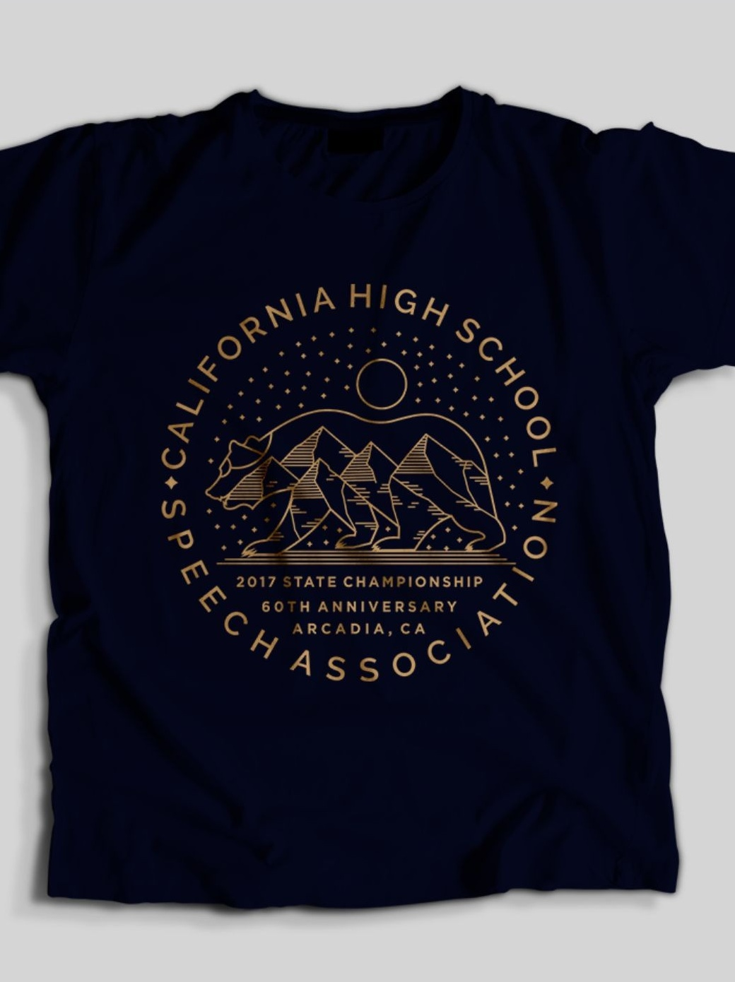 Line art illustration of the California flag for a high school t-shirt