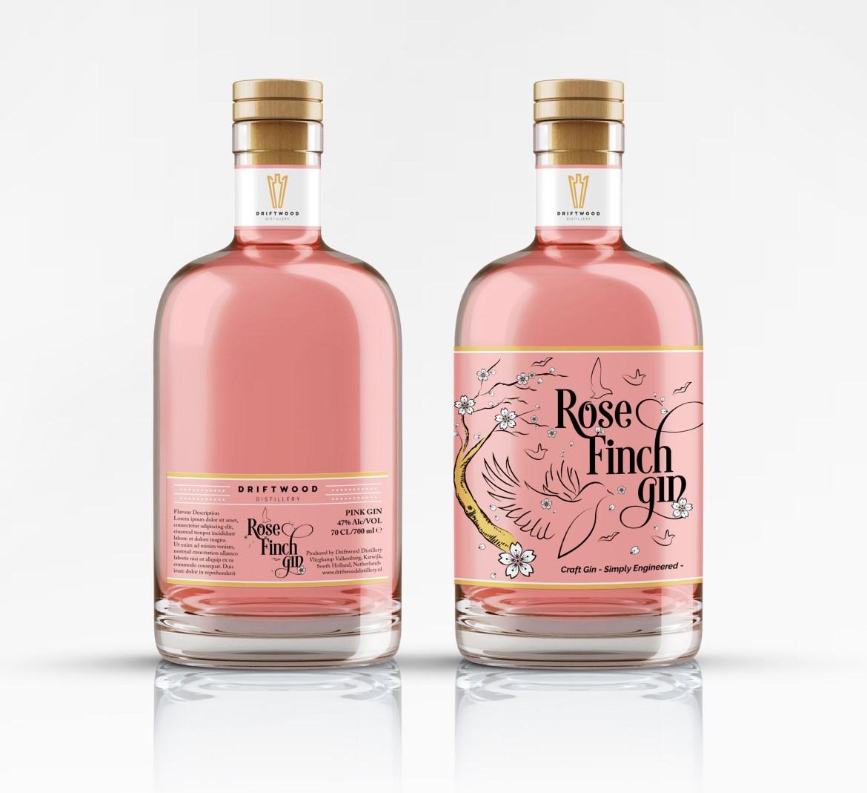 Pink gin bottles