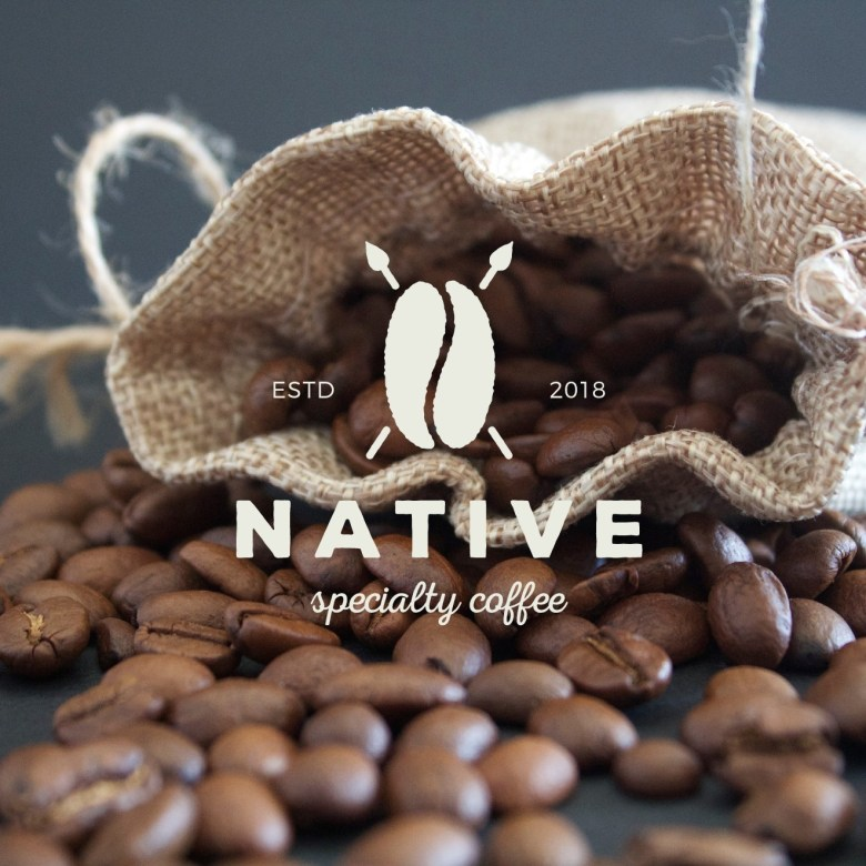 minimalistic coffee logo with coffee imagery