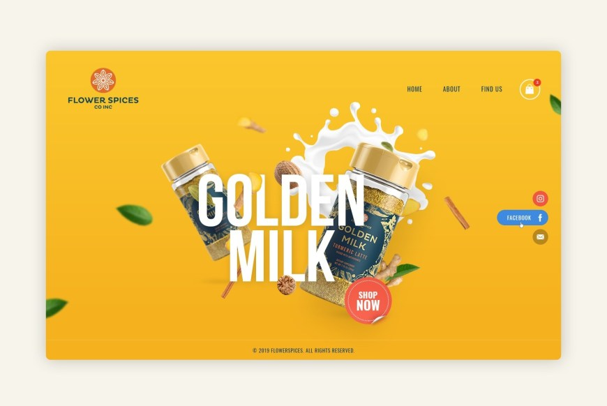Example of 2020 web design trend of soft shadows and floating elements