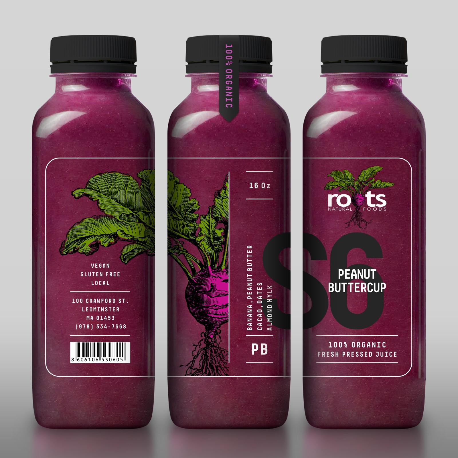 Xu hướng thiết kế bao bì 2020 ví dụ: thiết kế chai trong suốt với hình minh họa củ cải đường