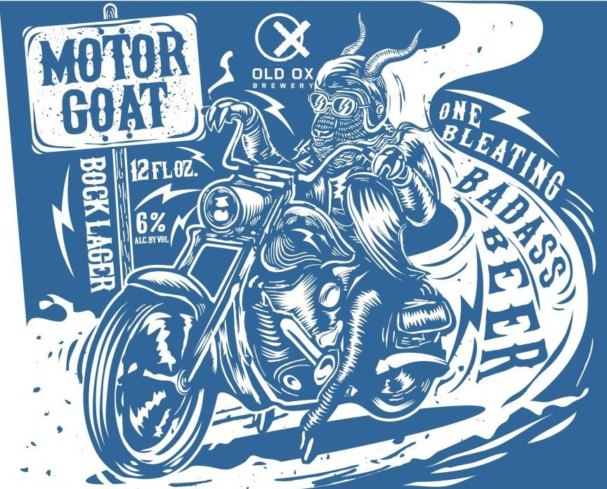 Blue beer can label of a goat riding a motorcycle