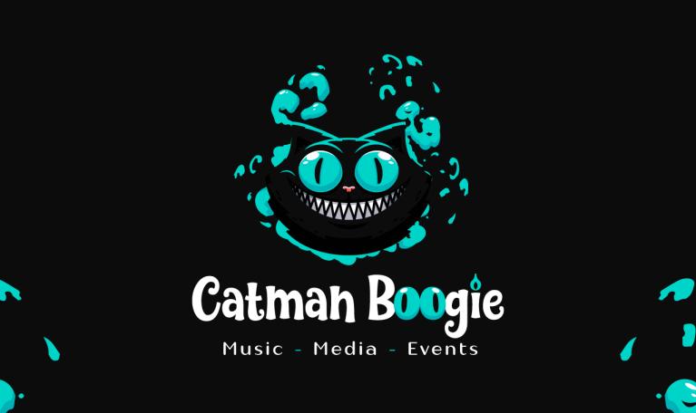 Cheshire cat themed logo design character illustration