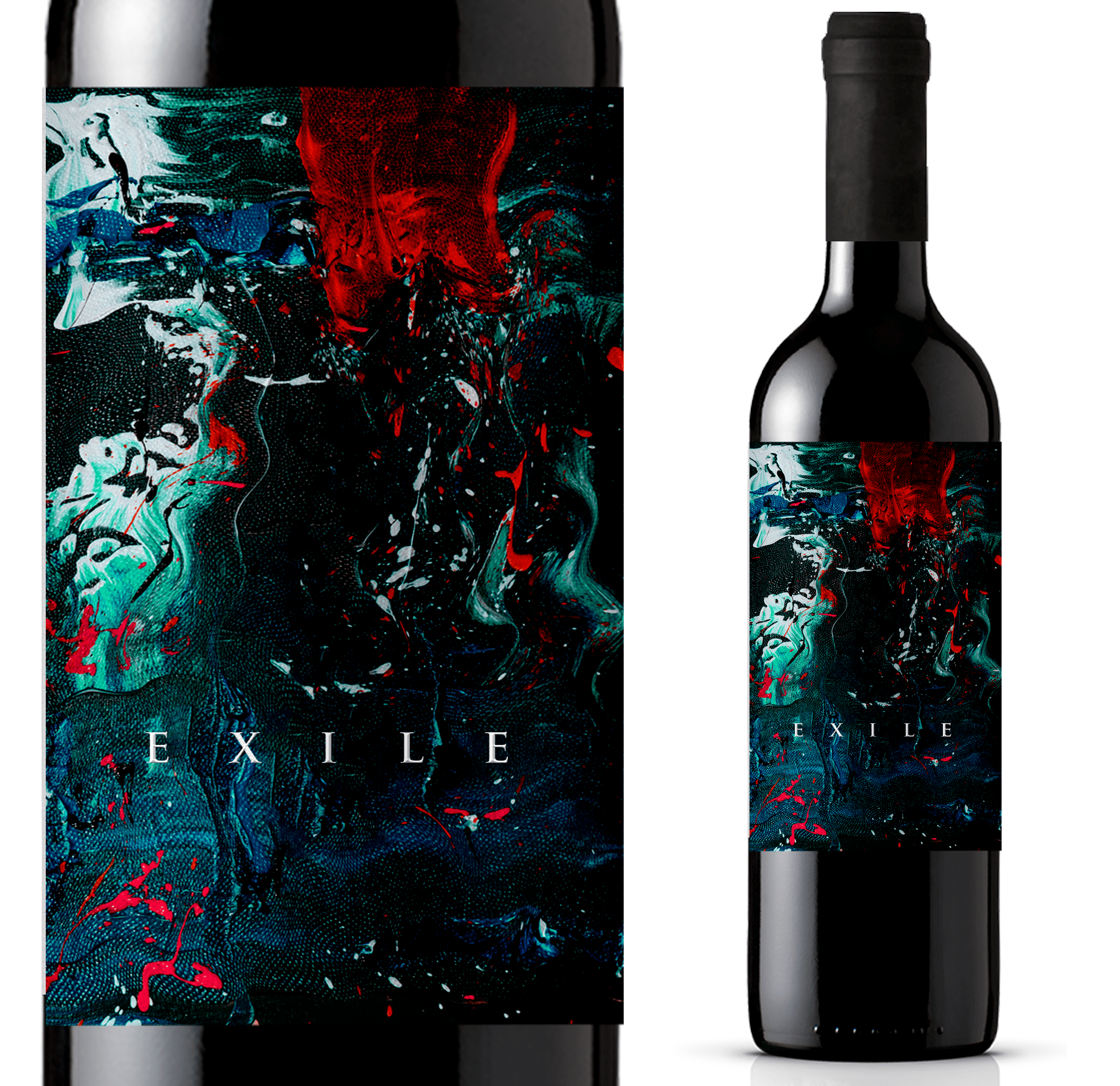 fine art packaging design trend: Realistic painting style wine label