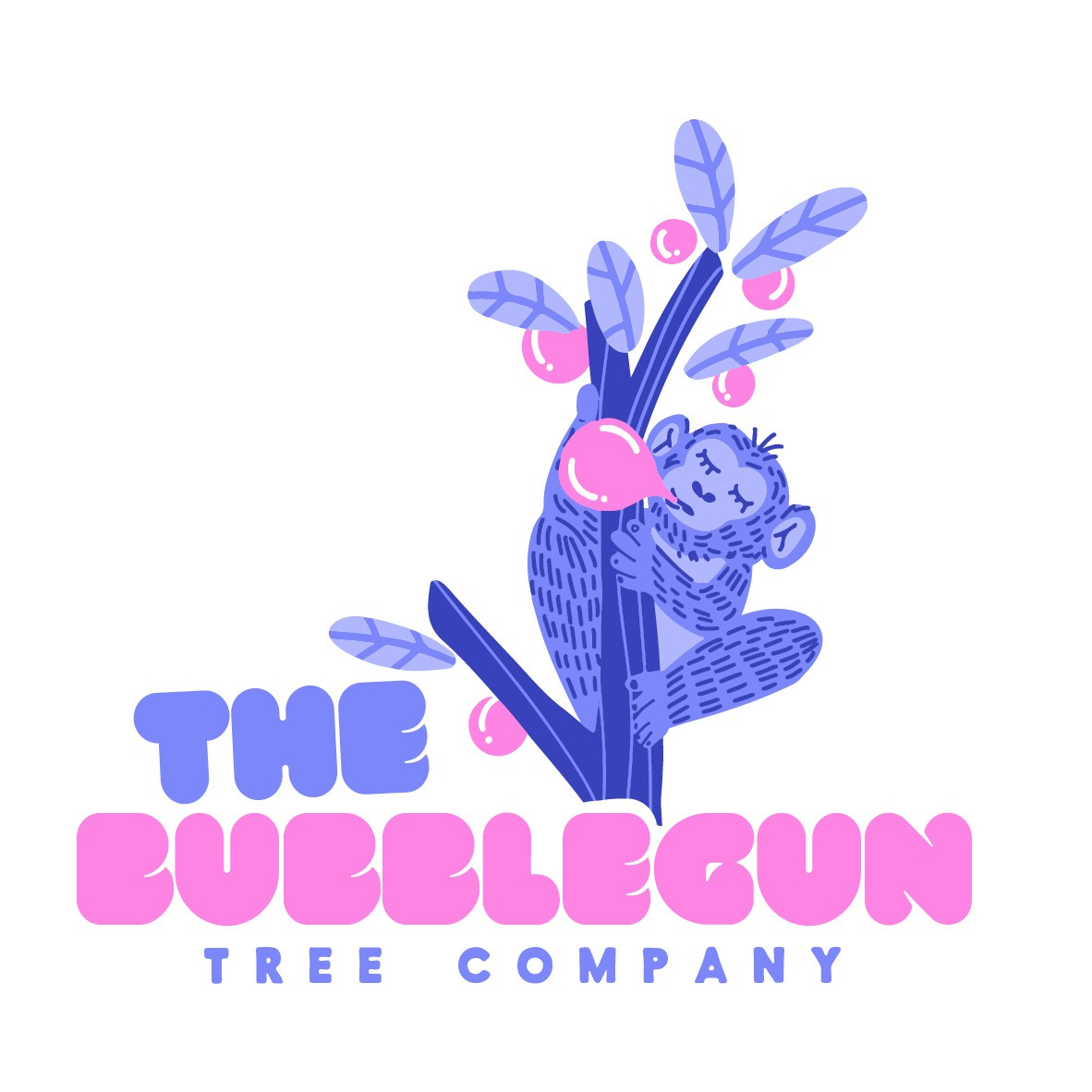 logo design trends example: Blue purple monkey illustration logo design