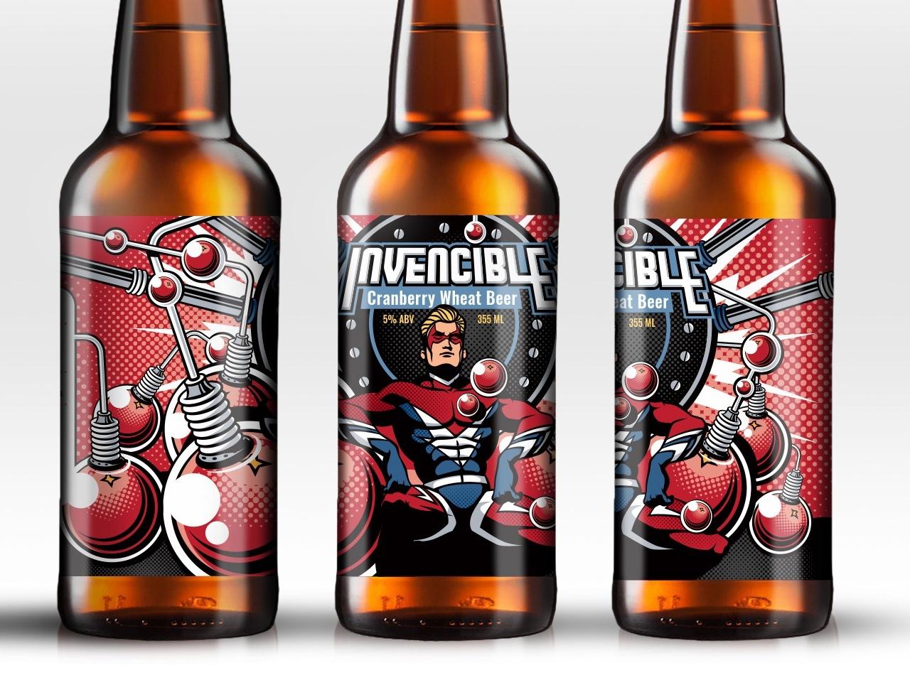 Vintage comic book inspired beer label design