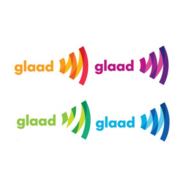 GLAAD's logo in a variety of colors