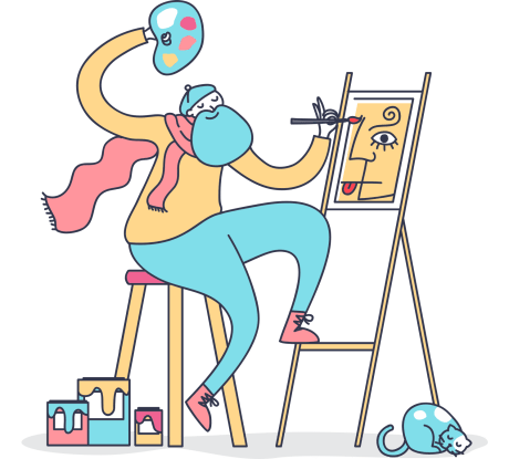 99designs Coupon -colorful illustration of artist painting