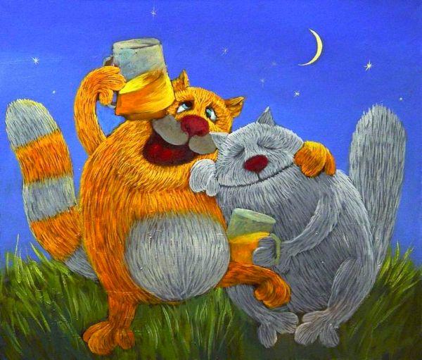Фото Два кота горланят песни под луной, держа кружки с пивом