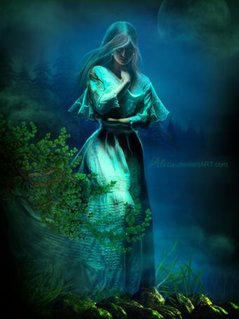 Фото Девушка в шляпе и длинном платье сидит на фоне природы