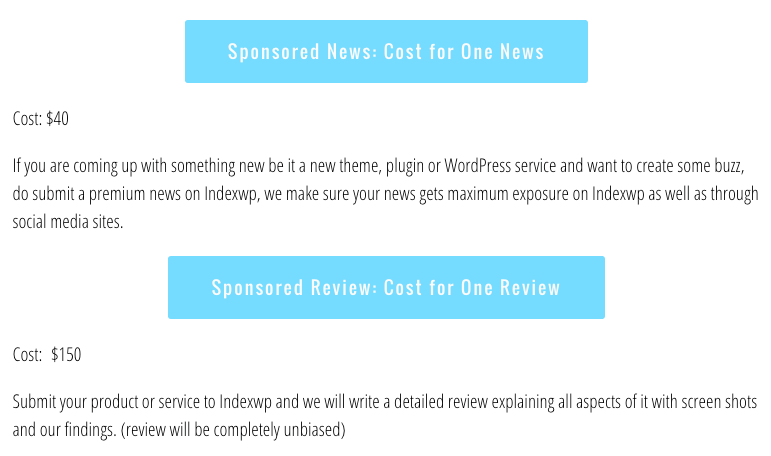 IndexWP's sponsored posts strategy