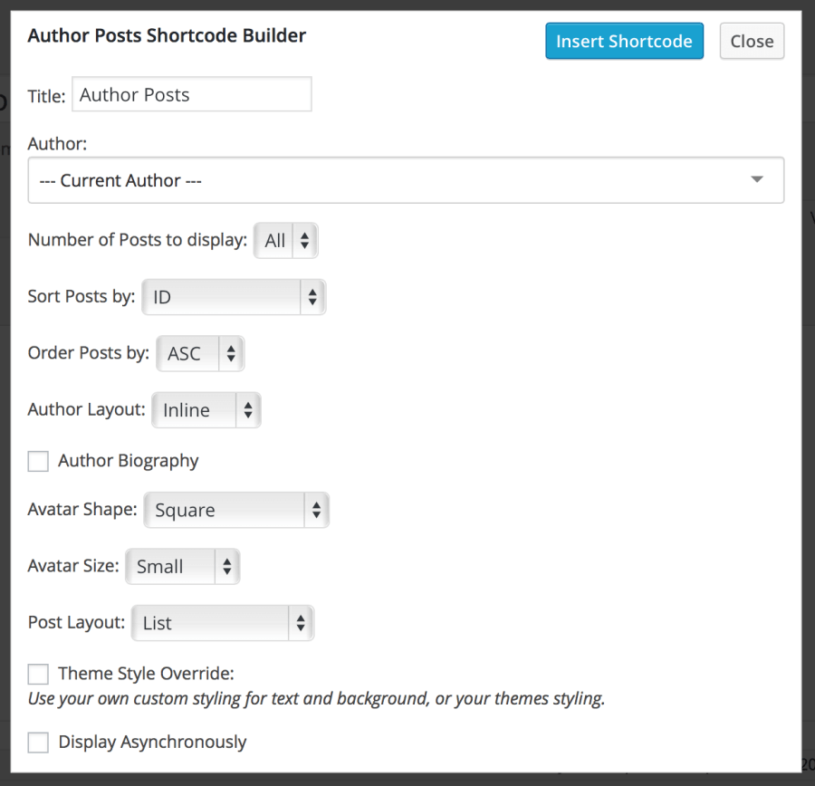 author-posts-shortcode-builder