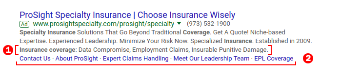 ProSight Specialty Search Ad Example and analysis