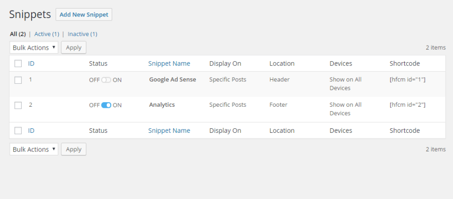Header Footer Code Manager - Add Snippet