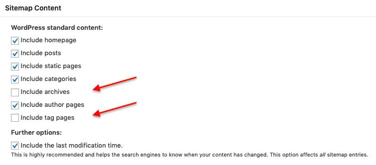 Impostazioni Sitemap XML - Plugin SEO WordPress