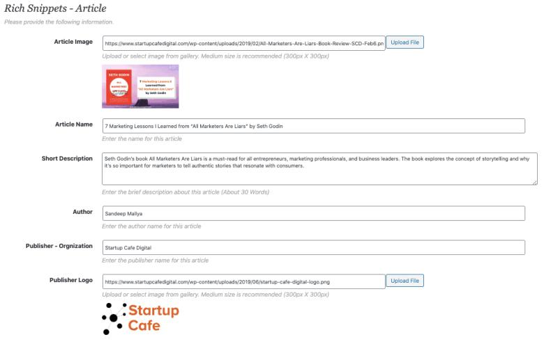 Rich Snippet Plugin WordPress - Impostazioni