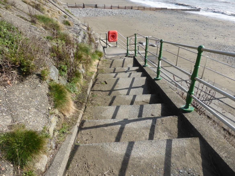 railing shadows on steps