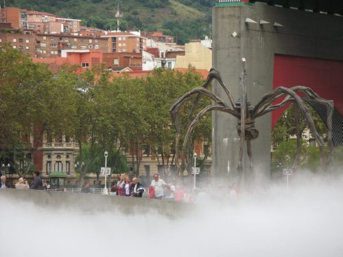 steaming pond and spider street art