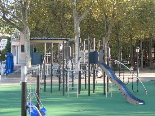 shiny metal climbing frame in playpark