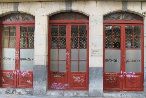 red painted doors