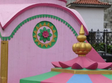 pink and golden temple detail