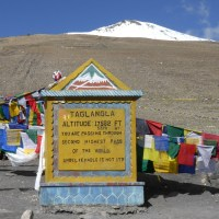 Taglangla pass summit with prayerflags