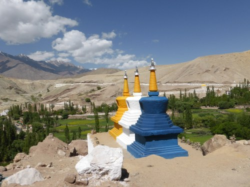 painted stupas in valley