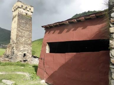 red metal shed door
