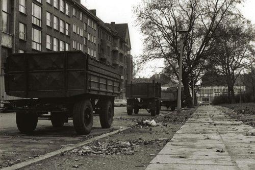 coal trucks by pavement
