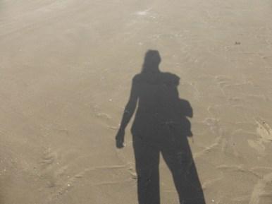beach shadow selfie