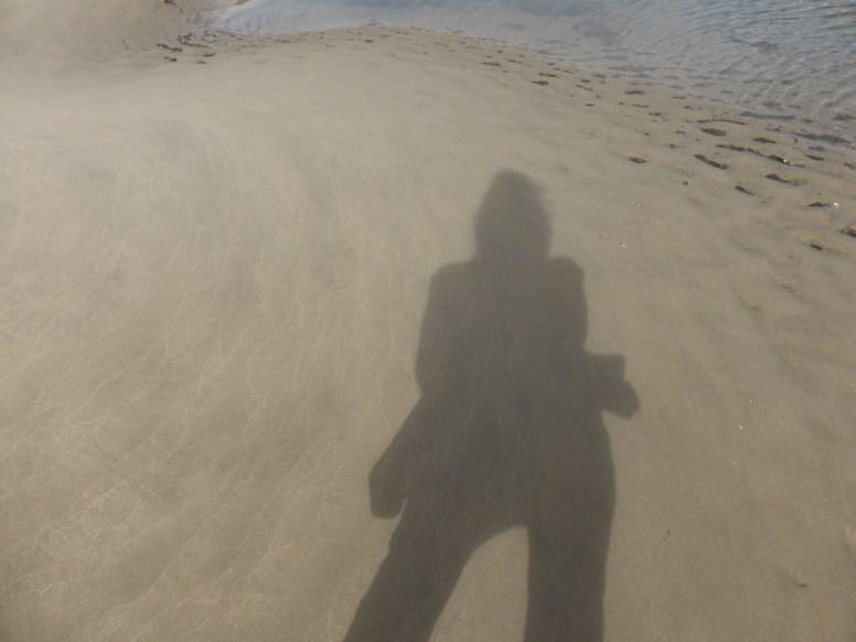 shadow selfie on beach