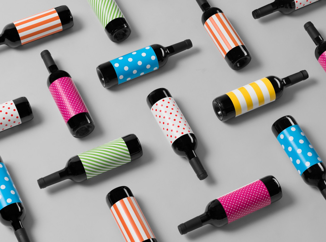 Wine bottles with colorful labels